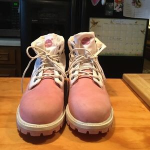 Women Timberland Pink Leather/Nylon Ankle Boots
